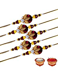 Tonkwalas Multicolor Combo of 5 Rakhi Set for Men with Roli Chawal Best Wishes