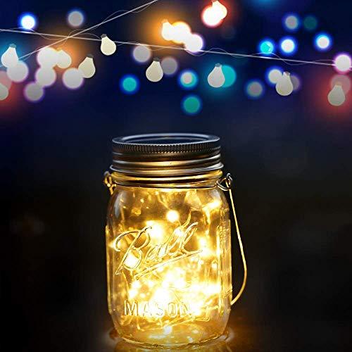 Solarlampen für außen - Mason Jar Licht, Glasgläser Garten Hängeleuchten, Lichterkette für Weihnachten, Solarleuchten Garten für Party, Wasserdichte Solar Laterne, Dekoration für Zuhause Hochzeit (Mason Jar-schmetterling)
