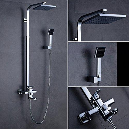 Duscharmatur Höhenverstellbar 80~132 cm, Handbrause(8x8cm) , Überkopfbrause(20x20cm), Schlauch(150cm) Duschset Regendusche Bad Wasserhahn Dusche Brause Duschsystem Shower