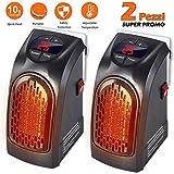 Bakaji Set 2 PEZZI Stufa ELETTRICA 400W Handy Fast Portatile Spina Presa Elettrica Regolabile da 15 a 32...