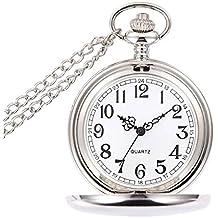 Mixe Men's Smooth Stainless Steel Case White Arabic Numerals Modern Pocket Watch (Sliver)