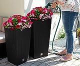 XXL Pflanzkübel 2er Set groß für Aussen und Innen. Blumentopf in Rattan Optik mit Bewässerungssystem und Wasseranzeige. Pflanzenkübel Blumenkübel. Anthrazit und Weiß (2er Set anthrazit Groß + Mittel)