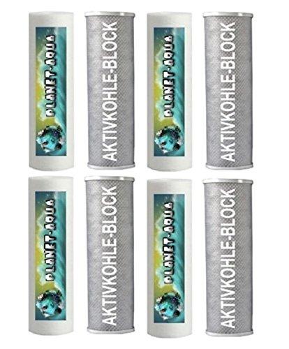 Preisvergleich Produktbild 2 Jahres Aktivkohle Block + Sediment Ersatzfilter Set in 10 Zoll mit 8 Filter Patronen - Filterkartuschen für Umkehrosmose Osmose Wasserfilter und Osmoseanlagen für Aquariumwasser Trinkwasserfilter Brunnenwasser Pumpe Pool