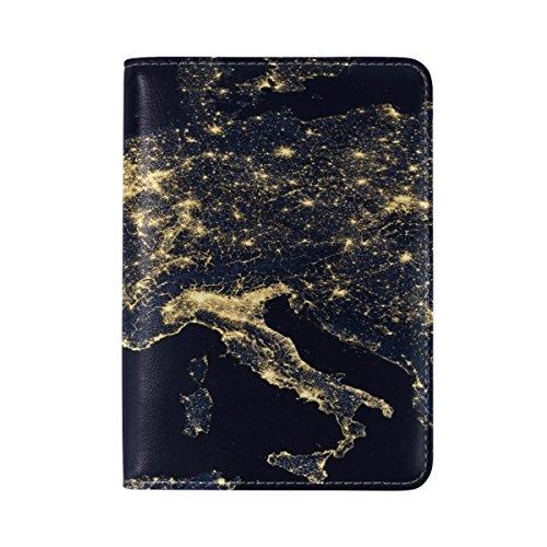 ALAZA Luminoso Europa Mapa Titular Pasaporte Piel