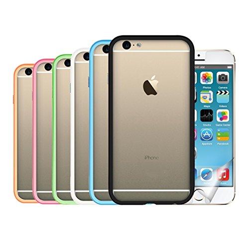 kwmobile 7in1:6x TPU silicone bumper firmato per > Apple iPhone 6 / 6S < di colore nero, bianco, blu, verde, fucsia, arancione + Pellicola, cristallino