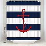 Z&L Home Rot Anker auf Streifen in Blau Duschvorhang Home Decor Bad Kollektionen 54x78Inches Nave Blue and White
