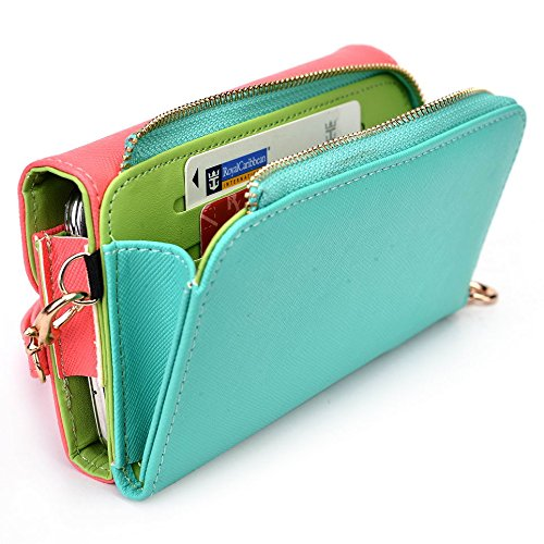 Kroo d'embrayage portefeuille avec Wristlet et bandoulière pour Alcatel Hero 2/Pop S9 Black and Purple Red and Green