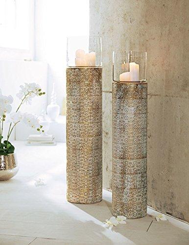 Pureday Windlichtsäule Oriental mit Ornamenten Metall Glas Gold