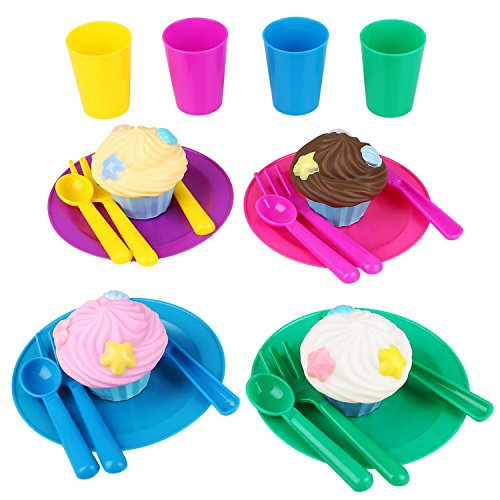 Peradix Toys Dishes 24 Pcs Childrens Kitchen Accessories & Toy Tea Set for Children Kids Pretend Play (with Apron)