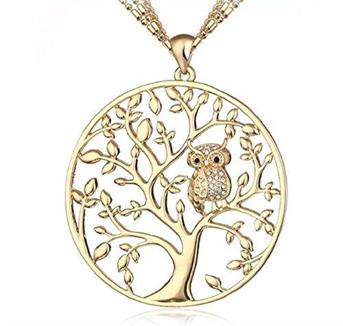 Sarahmi lange Kette mit großem Anhänger Lebensbaum mit Eule Baum des Lebens gold mit Kette