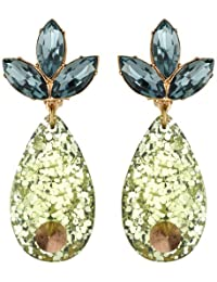 Mawi London Crystal Leaf Earrings with Spiked Glitter Teardrop 6cm