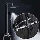 AYANGZ Duschsystem - Verstellbare Duschhalterung Luxus Badezimmer Duschset, Kupfer Dusche Temperaturregelung, Quadratische Top Spray Dusche, Dusche, Wandhalterung