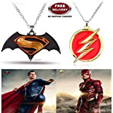 (2 Pcs COMBO SET) - SUPERMAN BATMAN - DAWN OF JUSTICE LOGO (BLACK/YELLOW) & FLASH IMPORTED PENDANTS. LADY HAWK DESIGNER SERIES 2018. ❤ ALSO CHECK FOR LATEST ARRIVALS - NOW ON SALE IN AMAZON - RINGS - KEYCHAINS - NECKLACE - BRACELET & T SHIR