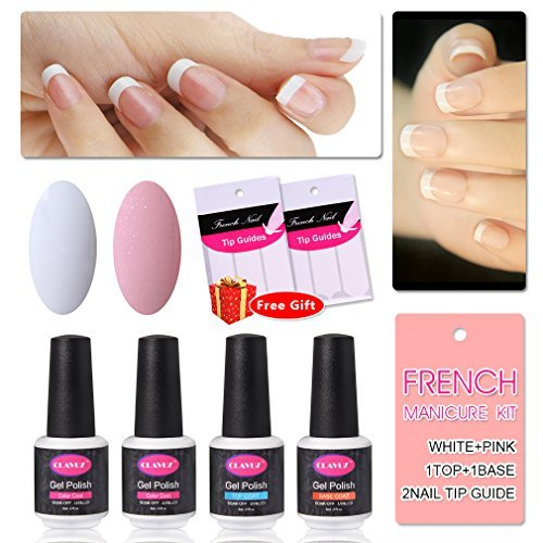 Clavuz 4pcs Kit de Manicura Francesa Esmaltes de Uñas Gel UV LED Semipermanente con Pegatinas Top Coat...
