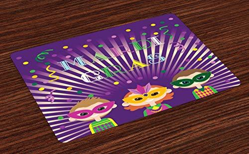 s Platzmatten, Fat Tuesday Mardi Gras Party Starburst Musterfiguren mit Harlekin Masken, Tiscjdeco aus Farbfesten Stoff für das Esszimmer und Küch, Mehrfarbig ()