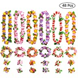 Gwhole 48 Pezzi Hawaiian Leis Luau Fiori con 24 Bracciali 12 Fasce e 12 Collane per Luau Hawaiian Decorazioni per Vacanze Matrimoni Spiagge Decorazioni di Compleanno