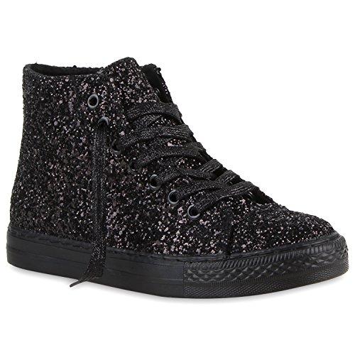 Trendy Damen Sneakers Sportliche Sneaker High Stoff Camouflage Animal Print Muster Sport Schuhe 119022 Schwarz Glitzer 38 | Flandell®