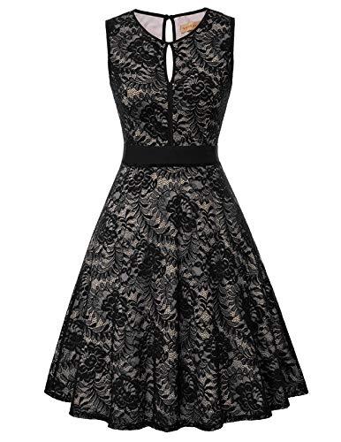 Vintage 50er Jahre Elegante Blumenspitze Elastische Swing Petticoat Kleid Schwarz L