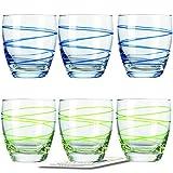 Montana WH Becher :swirl 6/Set farbig sortiert inkl. 6 Dekokaufhaus Untersetzer, Whiskybecher, Blau Grün