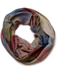styleBREAKER warmer Karo Muster Loop Schlauchschal mit Fransen, Unisex 01018037