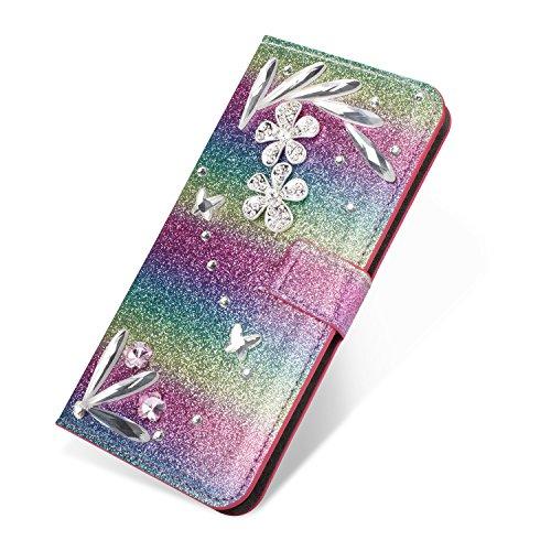 SevenPanda Mode Bling PU Leder Mappen Kasten für Samsung J330, Diamant Blumen Juwelen Magnetischer Stoßfest Kartenschlitz Halter Standplatz Kasten für Samsung Galaxy J3 2017 - Regenbogen Grün Galaxy Juwelen