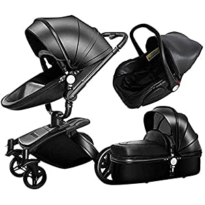 ZXF5 Hot Mom 3 In 1 Pram Foldable Anti Shock Two Way -gz Landscape Hot Mom Four Round Baby Stroller Multi Cot Functions Combined,black   9