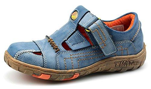 Tma Lingerie Lazer Couro Reais Baixas Sapatos Sandálias 1399 Azuis