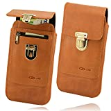 OrLine Ledertasche geeignet für Apple iPhone 5 5S SE. Gürteltasche mit Reißverschlusstasche Hülle Etui Tasche Case Cover Schutzhülle Handarbeit
