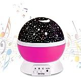 Bebé Luz nocturna musical USB recargable 4 modos Proyector estrella con luz cálida romántica Cosmos giratoria Cielo estrellado Proyección luna para bebés Cumpleaños Día de los niños Regalo de Navidad