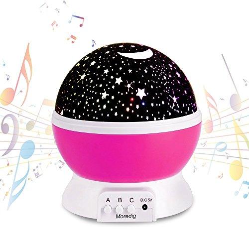 Bebé Luz nocturna musical USB recargable 4 modos Proyector estrella con luz cálida Romántico Cosmos giratorio Cielo estrellado Proyección de luna para bebés Cumpleaños Día de los niños Regalo de Navid …