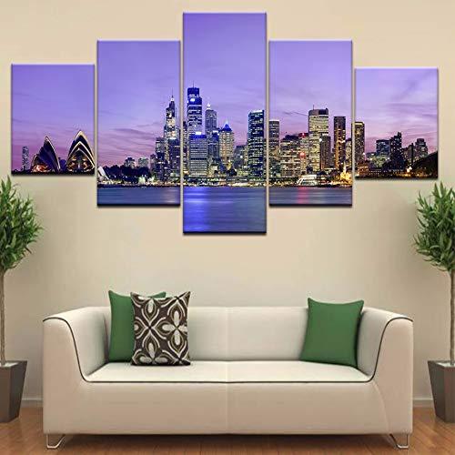 (xzfddn Modulare Wandkunst Poster Zimmer Home Decor Leinwandbilder 5 Stück Sydney Opera House Gebäude Nachtansicht Seascape Painting)