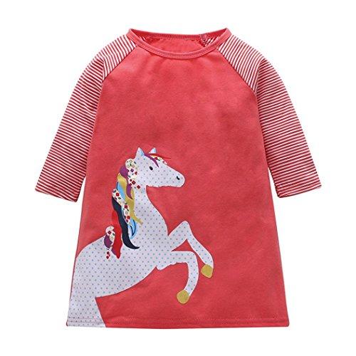 JERFER Baby Kleinkind-Mädchen Langarm Herbst Karikatur Prinzessin T-Shirt Kleid 2-6T (I, 3T)