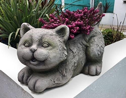 Gartenfigur Katze als Pflanztopf mit toller Steinoptik Dekoration Garten Figur