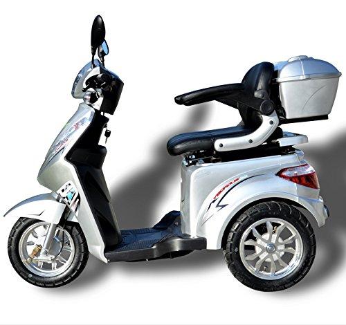 elektroroller senioren 1000 W eScooter Elektromobil 3 Rad eScooter Seniorenfahrzeug Seniorenmobil Elektrostuhl ECO Engel 501 (Silber)