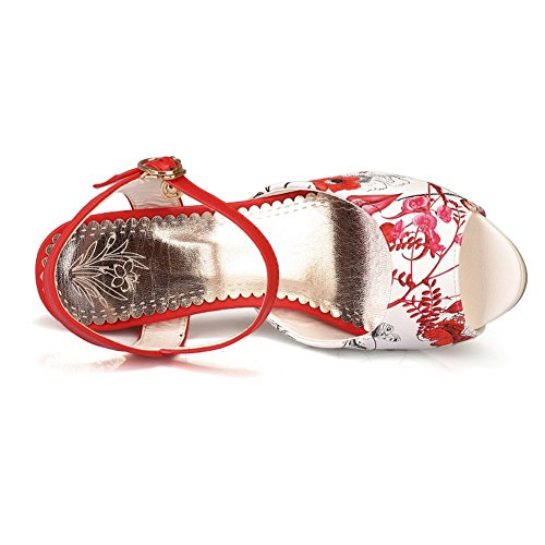 Adee Mesdames Motif floral en polyuréthane haut talons Sandales Rouge - rouge