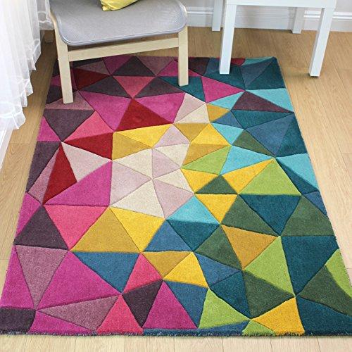 e-Rugs Modernes Montego Falmouth Prism handgetuftet Geometrische Muster Wolle Teppich, Multi-120x 170cm - Prism Multi Teppich
