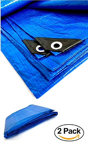 melchioni 2x telo impermeabile occhiellato multiuso 4 x 5 metri blu rinforzato con occhielli in metallo-confezione da 2 unitÀ-380039004, set di 2
