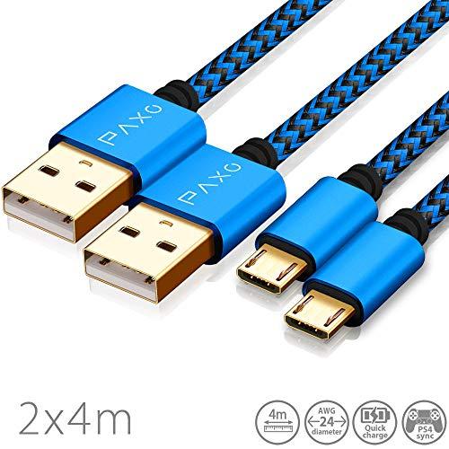 2X 4m Nylon PS4 Ladekabel für Playstation 4 Controller, Micro USB Kabel, Micro USB Ladekabel, Mikro USB, Stoffmantel, Aluminium Stecker, blau-schwarz