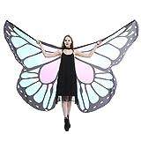 CLOOM Karneval Kostüm Schmetterling Damen Umhang Schmetterlings Flügel Schal Feenhafte Damen Cosplay Kostüm Zusatz Kleider Schmetterlingsflügel Poncho Kostüm Zubehör Faschingskostüme (Hellblau)