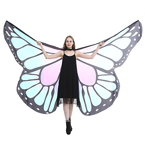 (TEBAISE Schmetterling Kostüm Frauen Soft Fabric Flügel Schals Butterfly Wings Shawl Fairy Ladies Nymph Pixie Poncho Accessory Umhänge Zubehör Für Karneval Show Fasnacht Daily Party Fasching)