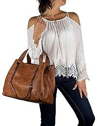 fdfa1bcf2b Emila Borsa donna grande a spalla capiente tipo hobo bag nera cuoio tracolla  borsello shopper lavoro da giorno in…