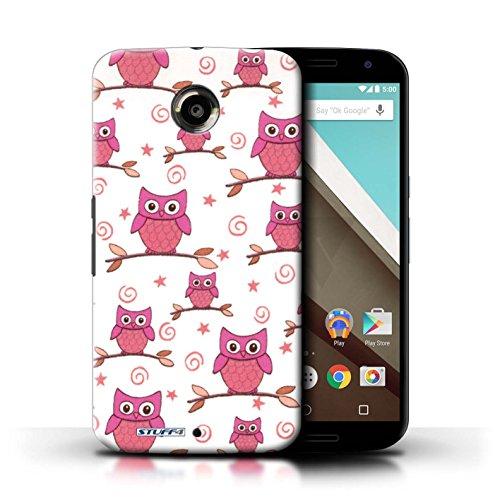 Kobalt® Imprimé Etui / Coque pour Motorola Nexus 6 / Rouge/Blanc conception / Série Motif Hibou Rose/blanc