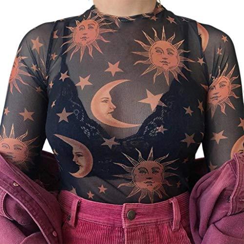 Damenmode Reizvolle Spitze Blumen Mesh Langarm T-Shirt Crop Tops (Schwarz, M)
