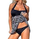Yanhoo Plus Size Donne Push-up Nuotare Vestire Tankini Imposta Due Bikini Pezzo Costume da Bagno, Interi Donna Costume da Mare Spiaggia Piscina Bikini Swimsuit Coordinati Beachwear (L3, Nero)