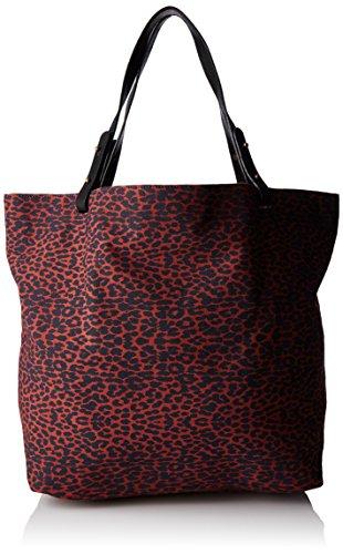 Petite Mendigote Damen Clea Leopard Umhängetasche, 10 x 33 x 22 cm Rot (Burnt)