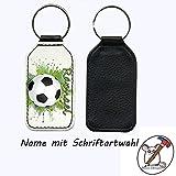 Schlüsselanhänger mit Namen Fußball Motiv/Kunstleder/einseitig bedruckt/Personalisierbar/Geschenkidee zur Einschulung/Schriftartwahl