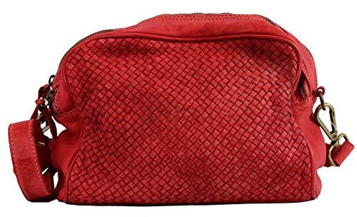 BZNA Bag Lucy Rot rosso Italy Designer Clutch Braided Ledertasche Umhängetasche Damen Handtasche Schultertasche Tasche Leder Shopper Neu