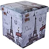 #7: Almighty Multiples Portable & Foldable Laundry Box Cum Sitting Stool Paris Print, Sitting Stool, Stool,Pouffes for Living Room, Puffy Stool (Multi Color)