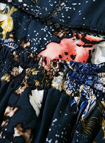 Azbro Women's Elegant Halter Neck Floral Print Maxi Dress Navy-2