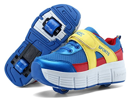 NEWZCERS Unisex youth roller skates schuhe sport laufende schuhe mit single wheel See blau (zwei R盲der)